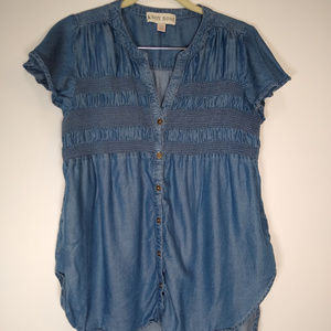 Women's Chambray Short Sleeve with Elastic Bust XS